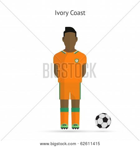 National football player. Ivory Coast soccer team uniform.
