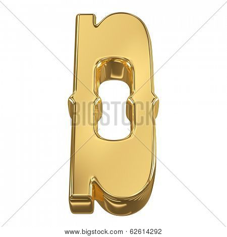 Letter D from gold solid alphabet, tilt 30 degrees, render