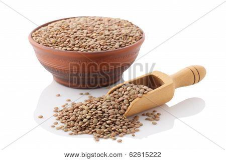 Bowl Of Dried Brown Lentils