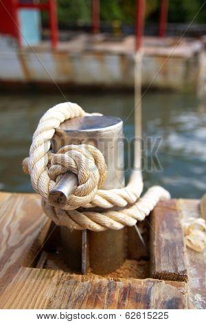 Mooring Bollard With Nautical Rope