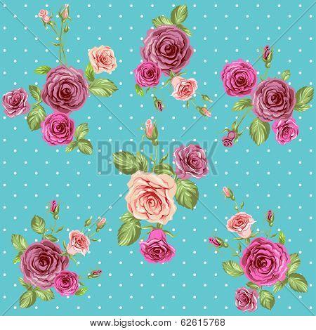 Vintage roses pattern. Seamless floral retro background