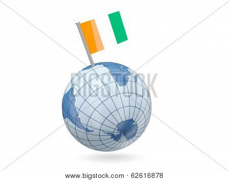Globe With Flag Of Cote D Ivoire