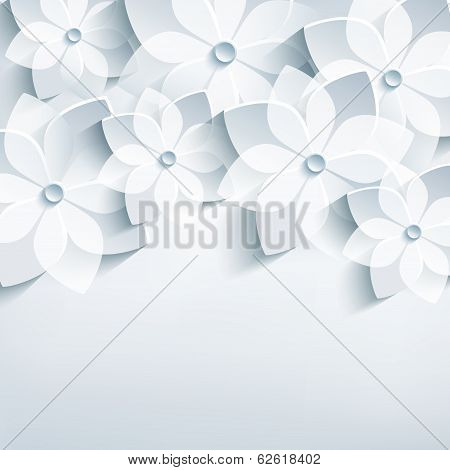 Floral Abstract Background, 3D Stylized Flowers Sakura