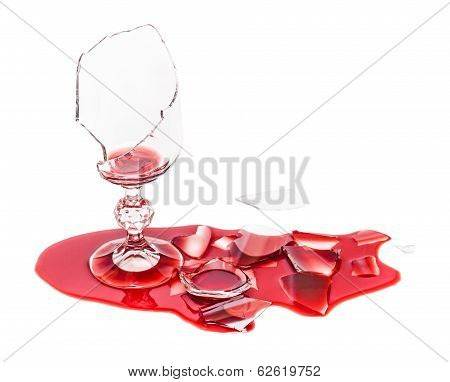 Broken Glass Poured Red Wine