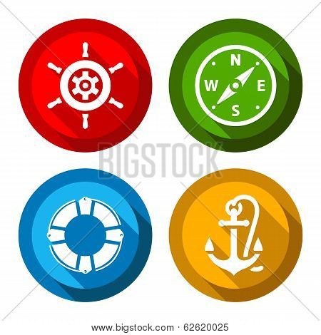 Set of travel flat color buttons