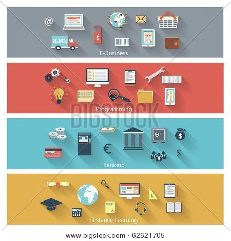 Set of modern concepts in flat design with long shadows and trendy colors for e-business, web, mobile applications, distance learning, banking, programming etc. Raster copy of vector illustration