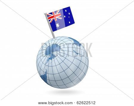 Globe With Flag Of Heard Island And Mcdonald Islands