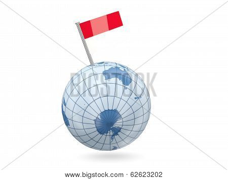 Globe With Flag Of Indonesia