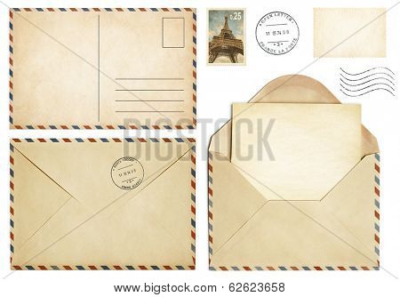 Old postcard, mail envelope, open letter, stamp collection