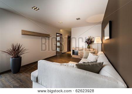 Modern Living Room In Bronze Color