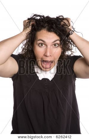 Woman With Frazzled Facial Expression