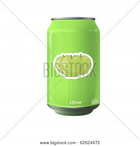 Green Tin Of Fruit Juice. Vector Design