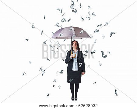 businesswoman with umbrella and question mark rain on white