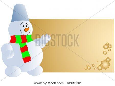 Snowman with blank card