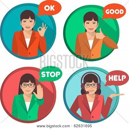 Set of Gestures Shows Business Woman