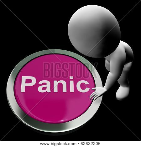 Panic Button Shows Alarm Distress And Crisis