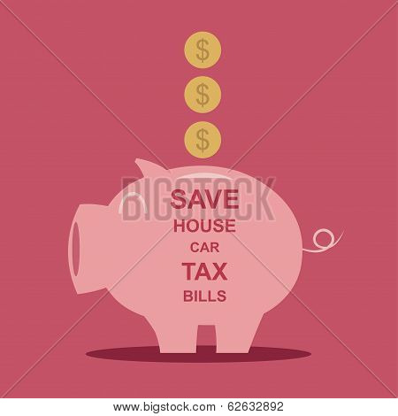 Piggy bank  saving money  Vector illustration EPS10