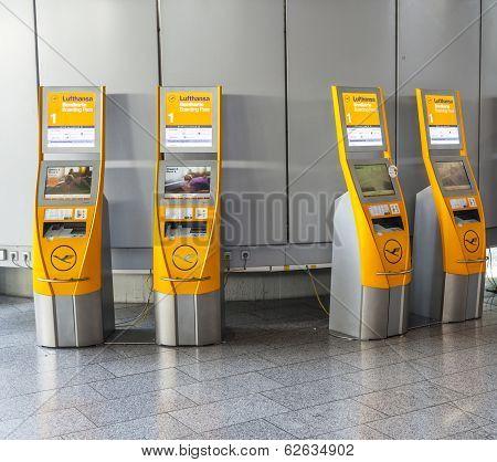 Self Check-in Machines At Frankfurt International Airport