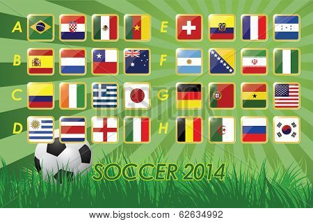 National Team Flags for soccer 2014 on grass background and soccer ball  32 nations