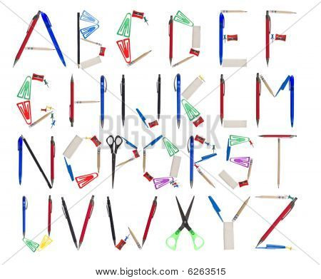 The Alphabet Formed By Office Supplies