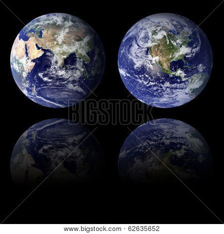 Eastern And Western Hemispheres Planet. Elements of this image furnished by NASA.