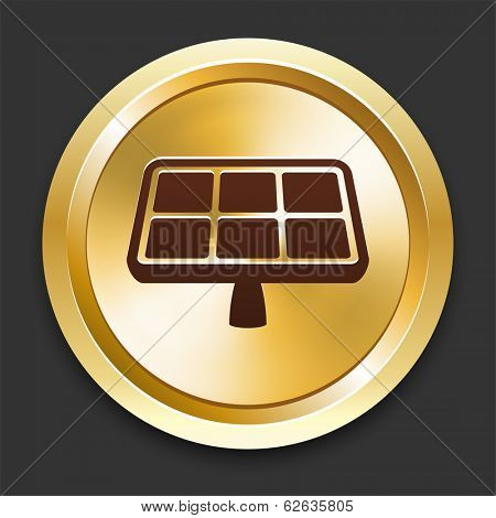 Solarpanel Icons on Gold Button Collection