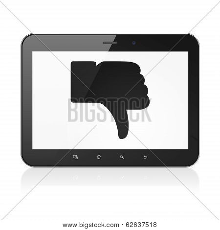 Social network concept: Unlike on tablet pc computer