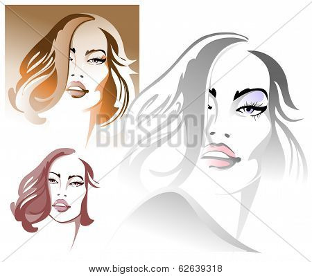 Three Portraits Of A Young Sexy Woman
