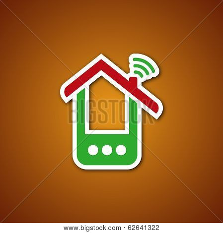 Paper phone house icon over caramel