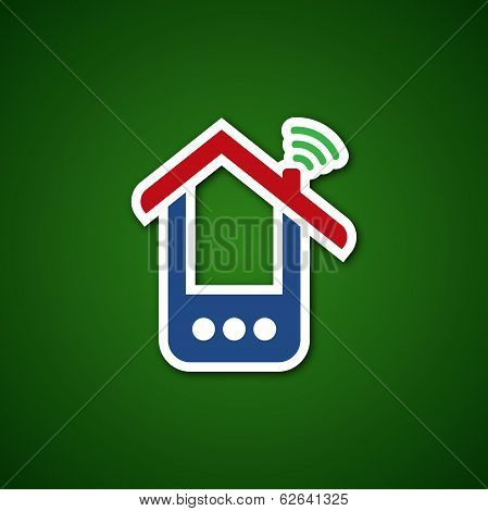 Paper phone house over green