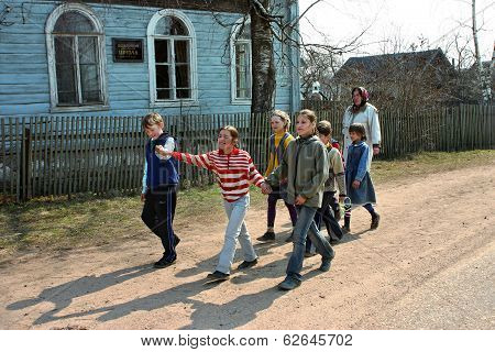 Russian Pupils Of Rural Schools, Walk Outdoors