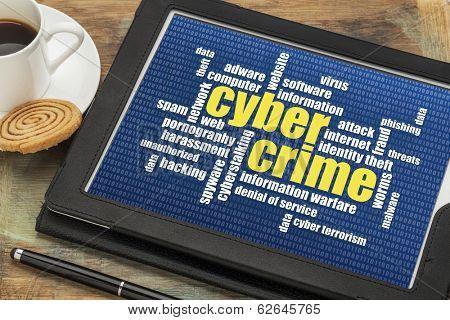 internet concept - cybercrime word cloud on a digital tablet