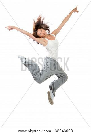 Slim Hip-hop Style Teenage Girl Dancer Jumping Dancing