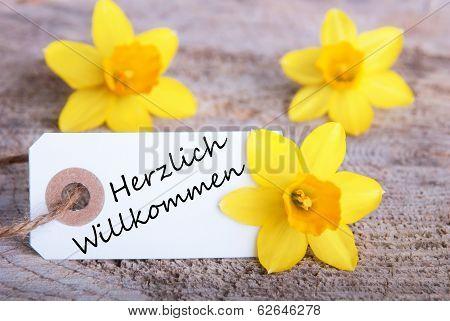 Label With Herzlich Willkommen