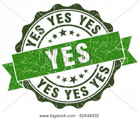 Yes Green Grunge Retro Style Isolated Seal