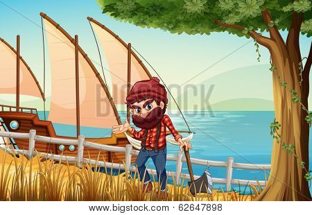 Illustration of a lumberjack standing at the riverbank with a wooden ship
