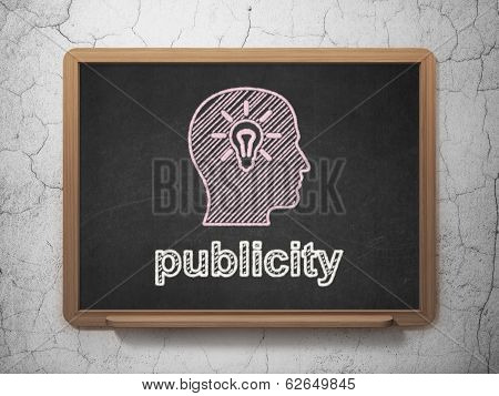 Marketing concept: Head With Light Bulb and Publicity