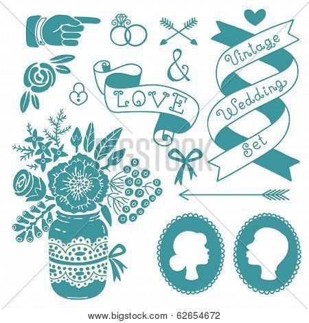 Wedding set of vintage design elements.