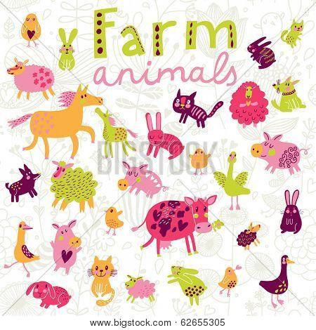 Funny farm animals in vector set.