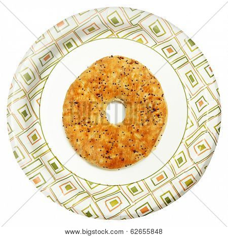Everything Flat Bagel on Paper Plate Over White Background