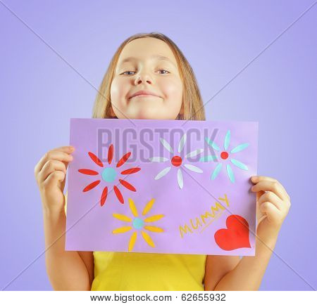 Girl Is Showing Greeting Card