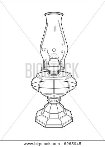Hurricane lamp line art