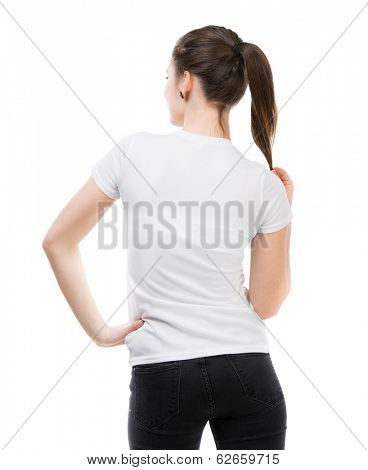 portrait of happy girl in white t-shirt and isolated on white background standing back