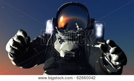 Astronaut on the starry sky.