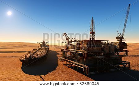 Rusty the oil tanker and the old station in the desert.