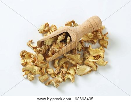 dried mushrooms with wooden measuring spoon