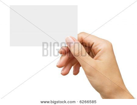 Empty Business Card In A Woman's Hand