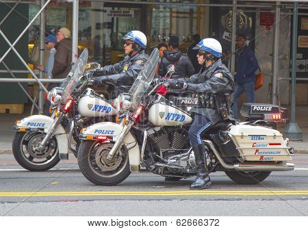NYPD officers on motorcycles providing security in Manhattan