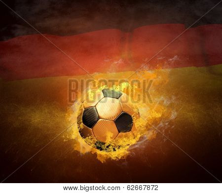 Hot soccer ball in fires flame, Germany national team
