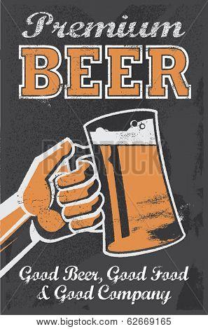 Vintage Brewery Beer Poster - Chalkboard Vector Illustration Sign.
